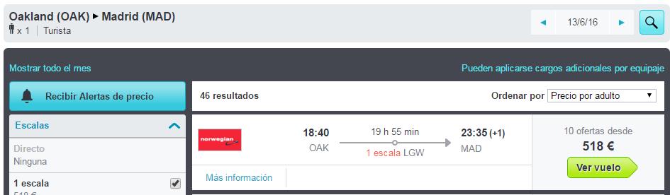 Vuelo Oakland-Madrid