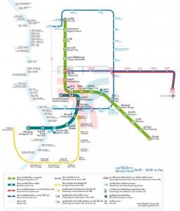 Mapa de algunos de los medios de transporte públicos de Bangkok